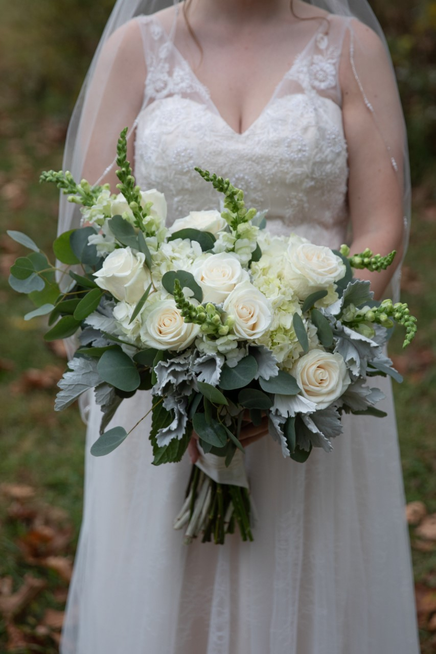 White with Greens Bridal Bouquet